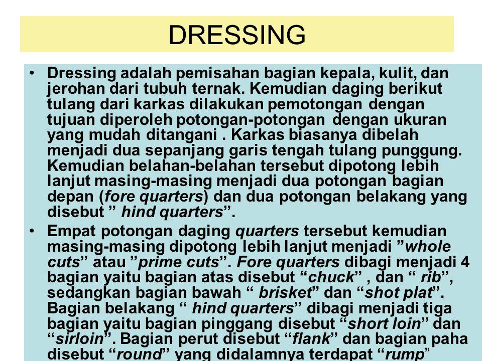 DRESSING Dressing adalah pemisahan bagian kepala, kulit, dan jerohan dari tubuh ternak. Kemudian daging berikut tulang dari karkas dilakukan pemotonga