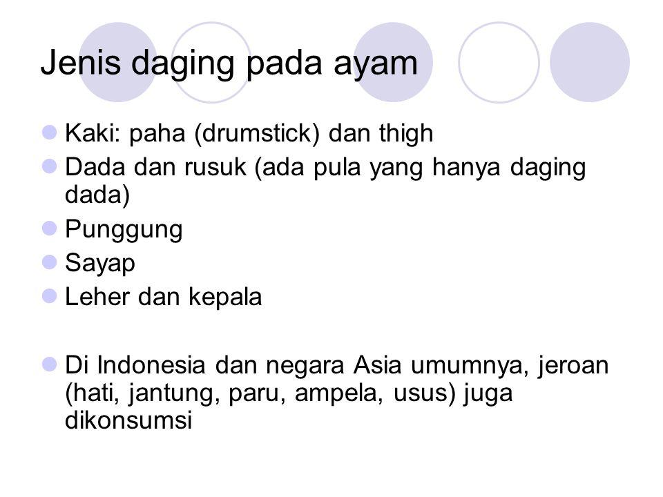 Jenis daging pada ayam Kaki: paha (drumstick) dan thigh Dada dan rusuk (ada pula yang hanya daging dada) Punggung Sayap Leher dan kepala Di Indonesia