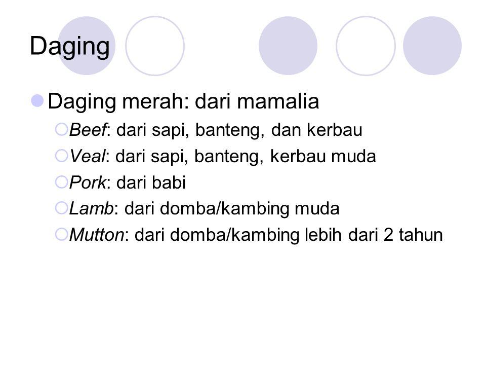 Daging Daging merah: dari mamalia  Beef: dari sapi, banteng, dan kerbau  Veal: dari sapi, banteng, kerbau muda  Pork: dari babi  Lamb: dari domba/