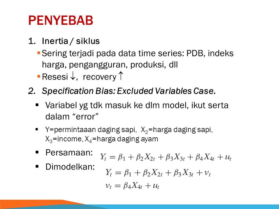 PENYEBAB 1.Inertia / siklus  Sering terjadi pada data time series: PDB, indeks harga, pengangguran, produksi, dll  Resesi , recovery  2.Specification Bias: Excluded Variables Case.