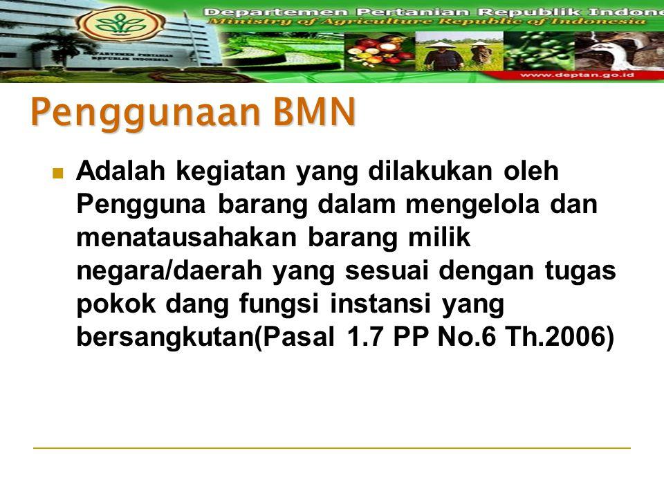 Penggunaan BMN Adalah kegiatan yang dilakukan oleh Pengguna barang dalam mengelola dan menatausahakan barang milik negara/daerah yang sesuai dengan tu