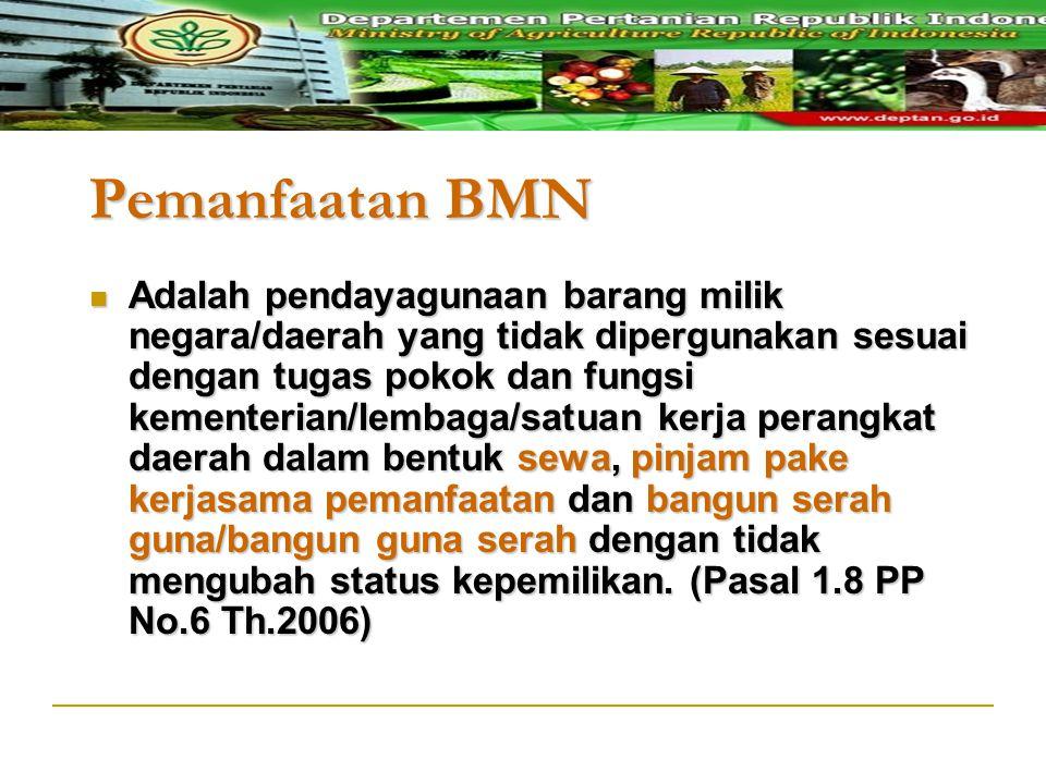 Pemanfaatan BMN Adalah pendayagunaan barang milik negara/daerah yang tidak dipergunakan sesuai dengan tugas pokok dan fungsi kementerian/lembaga/satua