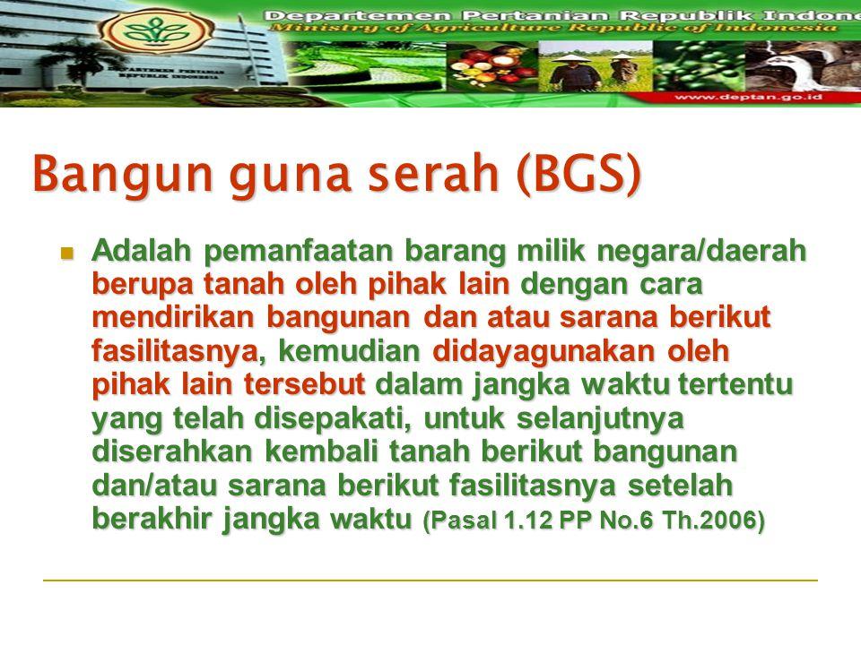 Bangun guna serah (BGS) Adalah pemanfaatan barang milik negara/daerah berupa tanah oleh pihak lain dengan cara mendirikan bangunan dan atau sarana ber