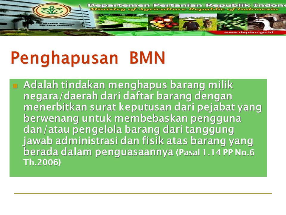 Penghapusan BMN Adalah tindakan menghapus barang milik negara/daerah dari daftar barang dengan menerbitkan surat keputusan dari pejabat yang berwenang