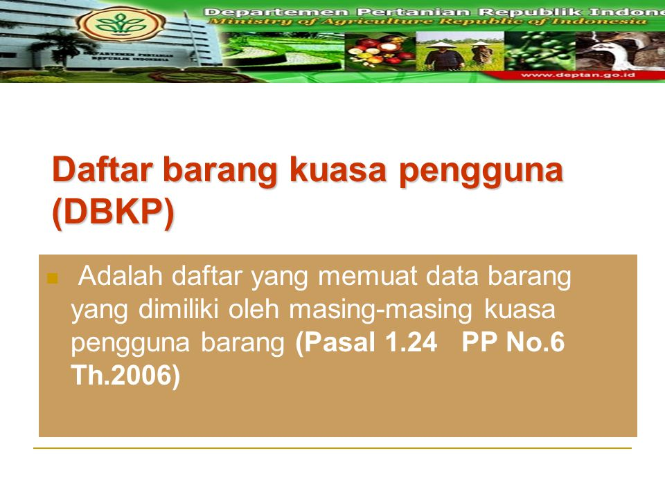 Daftar barang kuasa pengguna (DBKP) Adalah daftar yang memuat data barang yang dimiliki oleh masing-masing kuasa pengguna barang (Pasal 1.24 PP No.6 T