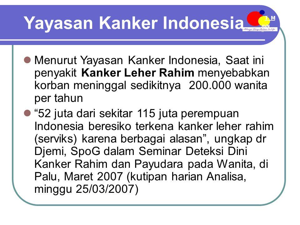 AVAI L T M EE-MDN Yayasan Kanker Indonesia Menurut Yayasan Kanker Indonesia, Saat ini penyakit Kanker Leher Rahim menyebabkan korban meninggal sedikitnya 200.000 wanita per tahun 52 juta dari sekitar 115 juta perempuan Indonesia beresiko terkena kanker leher rahim (serviks) karena berbagai alasan , ungkap dr Djemi, SpoG dalam Seminar Deteksi Dini Kanker Rahim dan Payudara pada Wanita, di Palu, Maret 2007 (kutipan harian Analisa, minggu 25/03/2007)