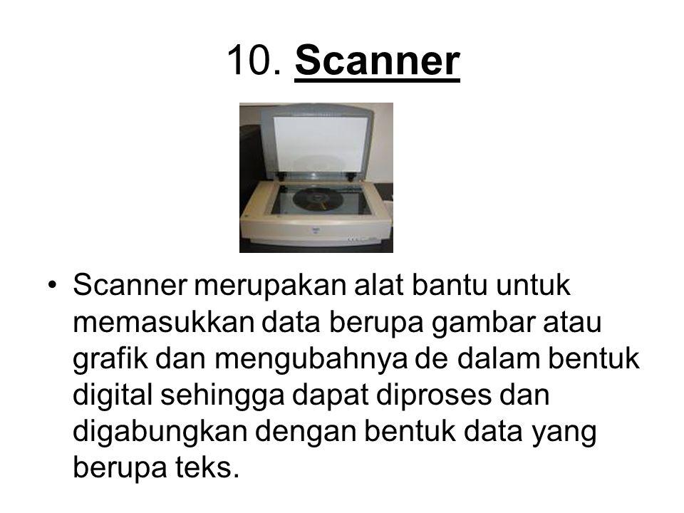 10. Scanner Scanner merupakan alat bantu untuk memasukkan data berupa gambar atau grafik dan mengubahnya de dalam bentuk digital sehingga dapat dipros
