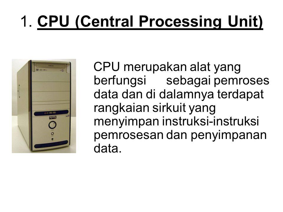 1. CPU (Central Processing Unit) CPU merupakan alat yang berfungsi sebagai pemroses data dan di dalamnya terdapat rangkaian sirkuit yang menyimpan ins