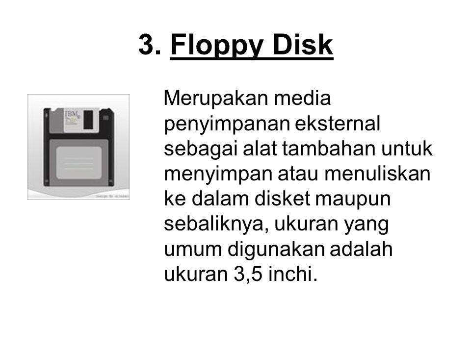 3. Floppy Disk Merupakan media penyimpanan eksternal sebagai alat tambahan untuk menyimpan atau menuliskan ke dalam disket maupun sebaliknya, ukuran y