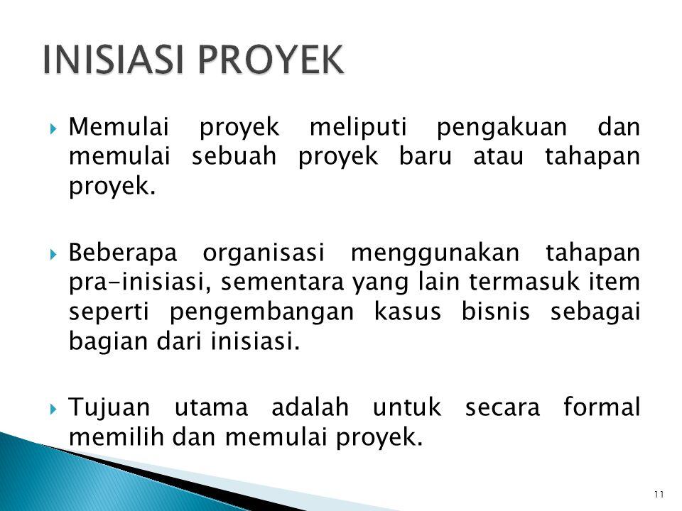  Memulai proyek meliputi pengakuan dan memulai sebuah proyek baru atau tahapan proyek.