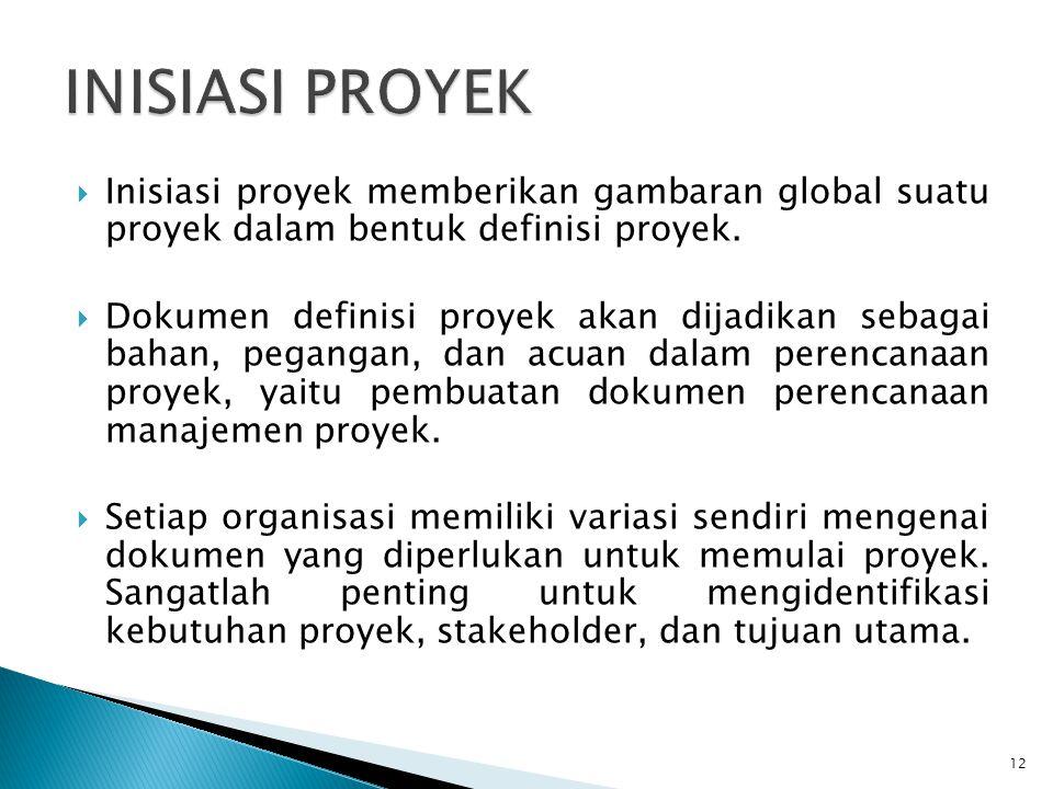  Inisiasi proyek memberikan gambaran global suatu proyek dalam bentuk definisi proyek.
