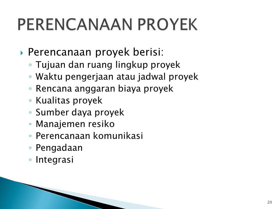  Perencanaan proyek berisi: ◦ Tujuan dan ruang lingkup proyek ◦ Waktu pengerjaan atau jadwal proyek ◦ Rencana anggaran biaya proyek ◦ Kualitas proyek ◦ Sumber daya proyek ◦ Manajemen resiko ◦ Perencanaan komunikasi ◦ Pengadaan ◦ Integrasi 20