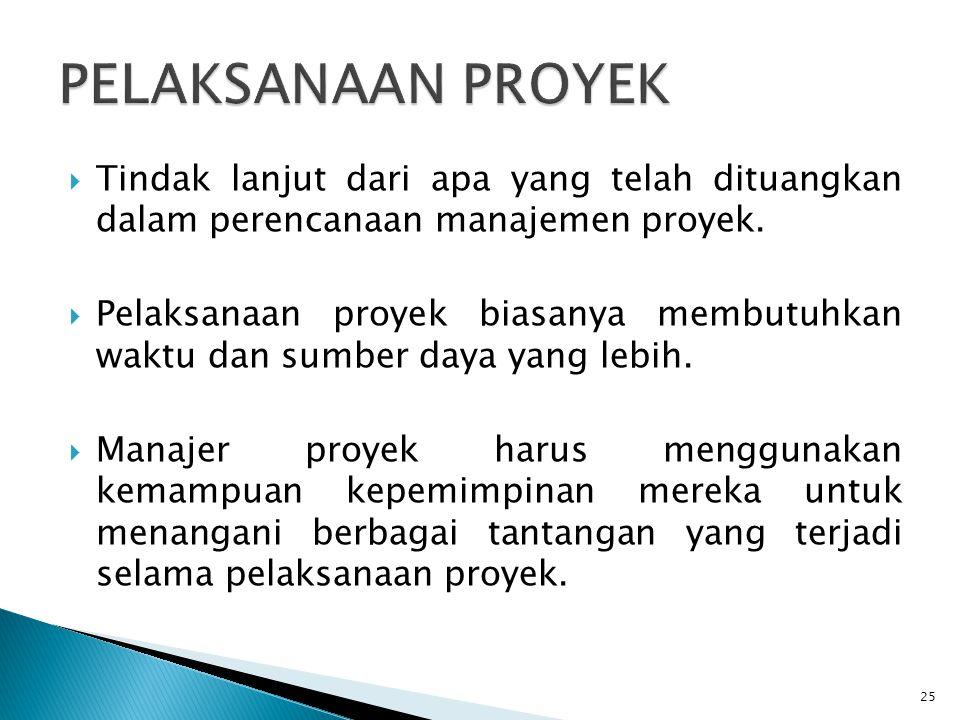  Tindak lanjut dari apa yang telah dituangkan dalam perencanaan manajemen proyek.