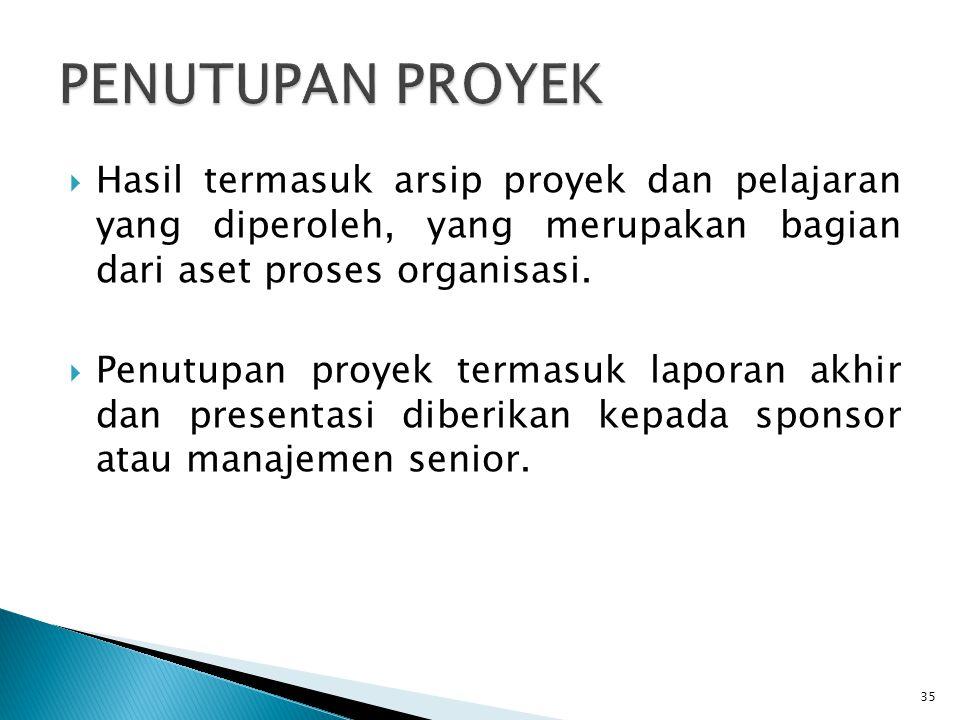  Hasil termasuk arsip proyek dan pelajaran yang diperoleh, yang merupakan bagian dari aset proses organisasi.