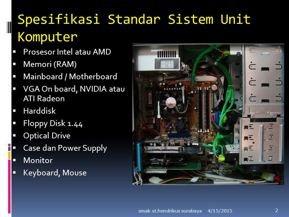 Spesifikasi Standar Sistem Unit Komputer  Prosesor Intel atau AMD  Memori (RAM)  Mainboard / Motherboard  VGA On board, NVIDIA atau ATI Radeon  H