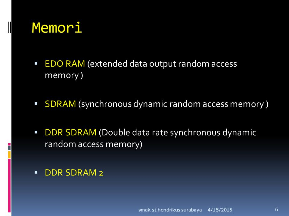 Memori  EDO RAM (extended data output random access memory )  SDRAM (synchronous dynamic random access memory )  DDR SDRAM (Double data rate synchr