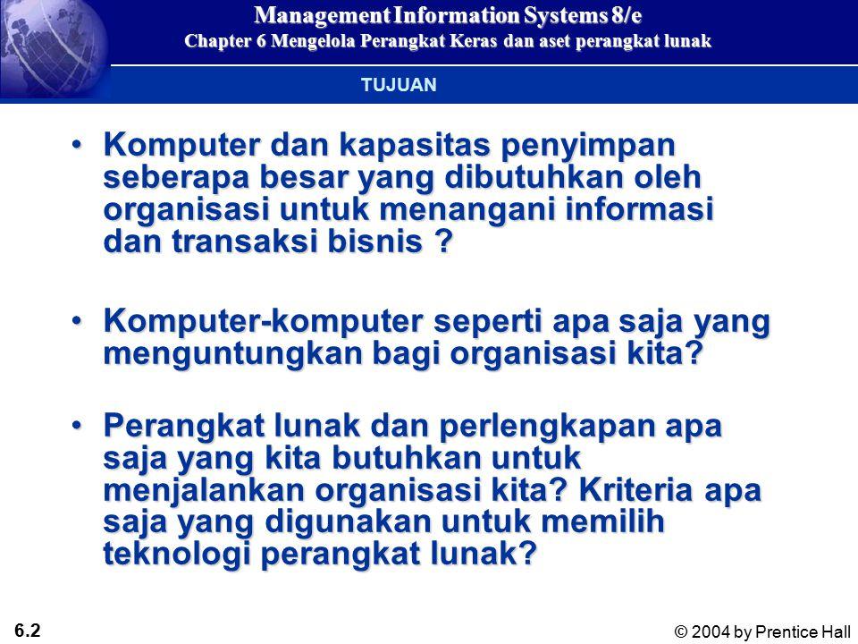 6.42 © 2004 by Prentice Hall Management Information Systems 8/e Chapter 6 Mengelola Perangkat Keras dan aset perangkat lunak On-line storage service providers Penyedia layanan pihak ke tiga yang menyewakan ruang penyimpan data lewat webPenyedia layanan pihak ke tiga yang menyewakan ruang penyimpan data lewat web Memungkinkan penyewanya menyimpan dan mengambil dataMemungkinkan penyewanya menyimpan dan mengambil data Application service providers (ASPs) Penyedia perangkat lunak apilikasi untuk disewa oleh perusahaan lainPenyedia perangkat lunak apilikasi untuk disewa oleh perusahaan lain MANAGING HARDWARE AND SOFTWARE ASSETS Keputusan menyewa atau membangun sendiri : dengan menggunakan penyedia layanan teknologi