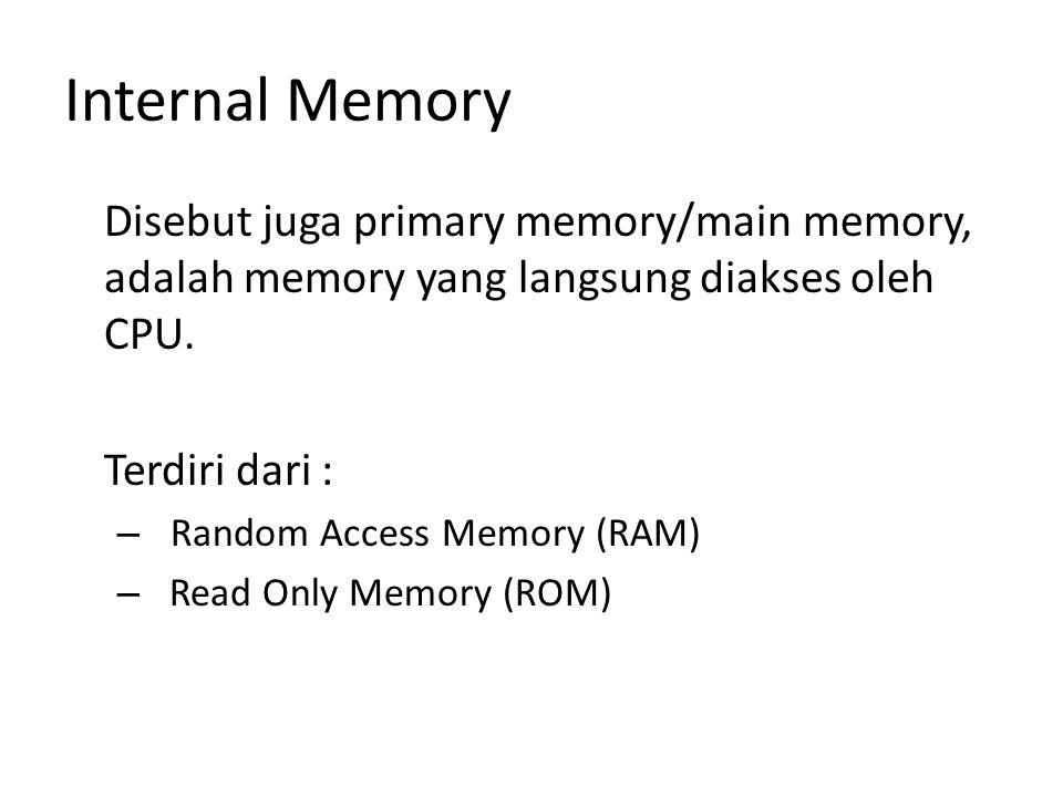 Internal Memory Disebut juga primary memory/main memory, adalah memory yang langsung diakses oleh CPU. Terdiri dari : – Random Access Memory (RAM) – R