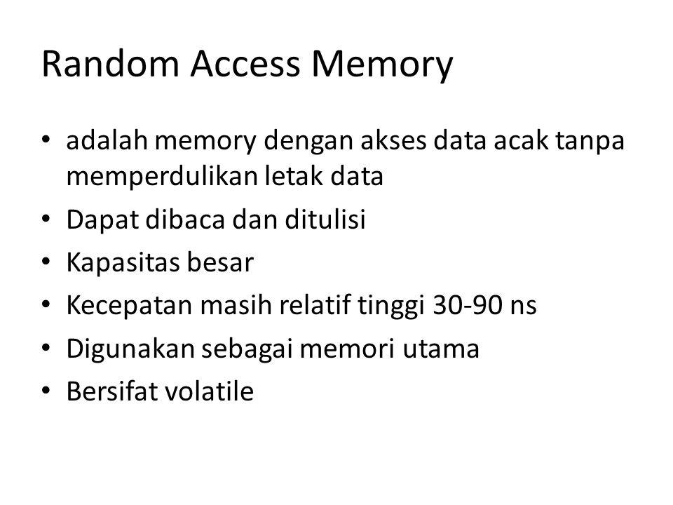 Random Access Memory adalah memory dengan akses data acak tanpa memperdulikan letak data Dapat dibaca dan ditulisi Kapasitas besar Kecepatan masih rel