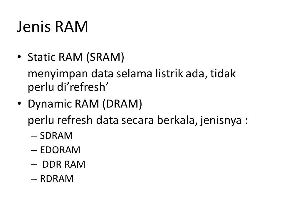 Jenis RAM Static RAM (SRAM) menyimpan data selama listrik ada, tidak perlu di'refresh' Dynamic RAM (DRAM) perlu refresh data secara berkala, jenisnya