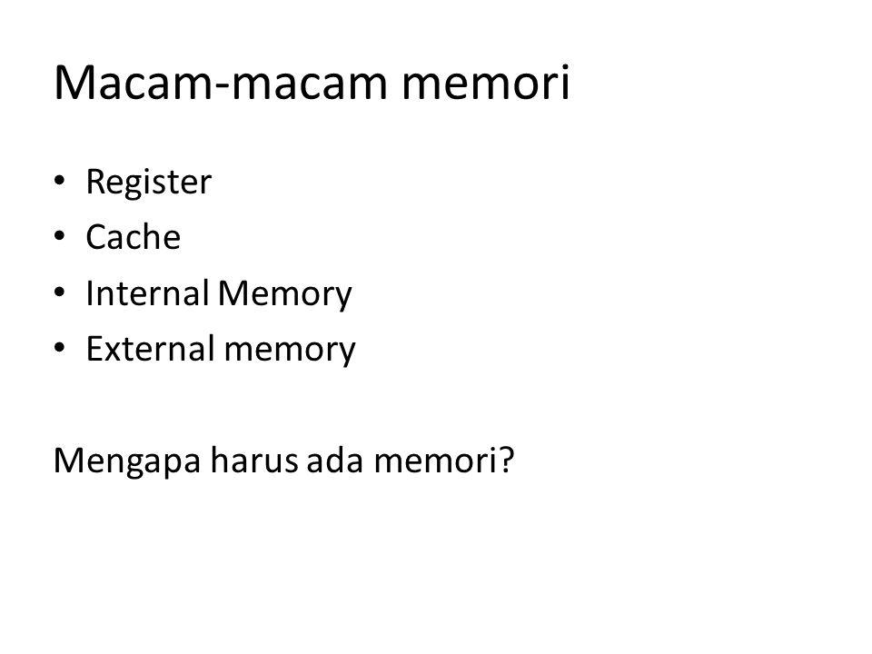 Macam-macam memori Register Cache Internal Memory External memory Mengapa harus ada memori?