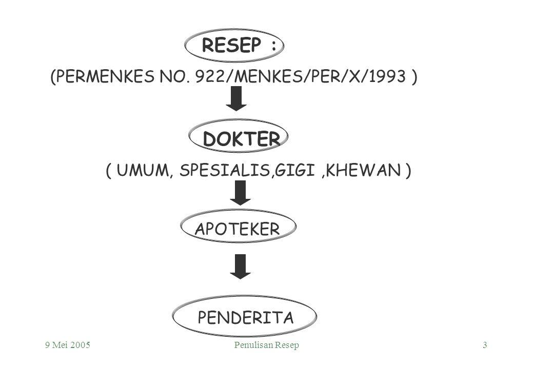 9 Mei 2005Penulisan Resep2 R/ = Recipe Resep dalam arti sempit : Permintaan tertulis dari dokter umum, dokter gigi, dokter hewan kepada apoteker untuk