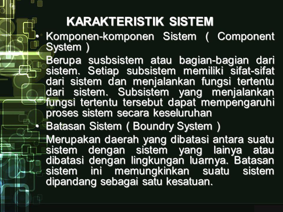 KARAKTERISTIK SISTEM Lingkungan sistem ( Environment System )Lingkungan sistem ( Environment System ) adalah apapun yang ada diluar batas dari sistem yang mempengaruhi operasi sistem.