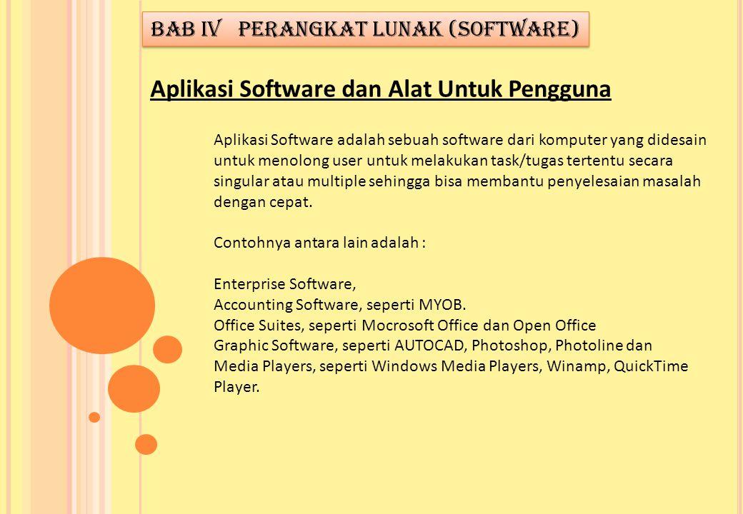 Aplikasi Software adalah sebuah software dari komputer yang didesain untuk menolong user untuk melakukan task/tugas tertentu secara singular atau mult