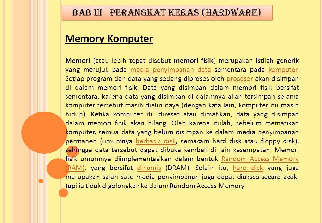 Memori (atau lebih tepat disebut memori fisik) merupakan istilah generik yang merujuk pada media penyimpanan data sementara pada komputer. Setiap prog