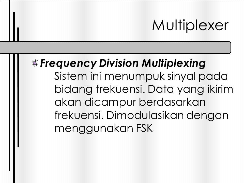 Multiplexer Frequency Division Multiplexing Sistem ini menumpuk sinyal pada bidang frekuensi. Data yang ikirim akan dicampur berdasarkan frekuensi. Di