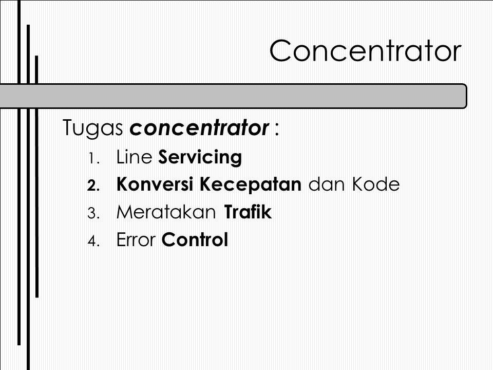 Concentrator Tugas concentrator : 1. Line Servicing 2. Konversi Kecepatan dan Kode 3. Meratakan Trafik 4. Error Control