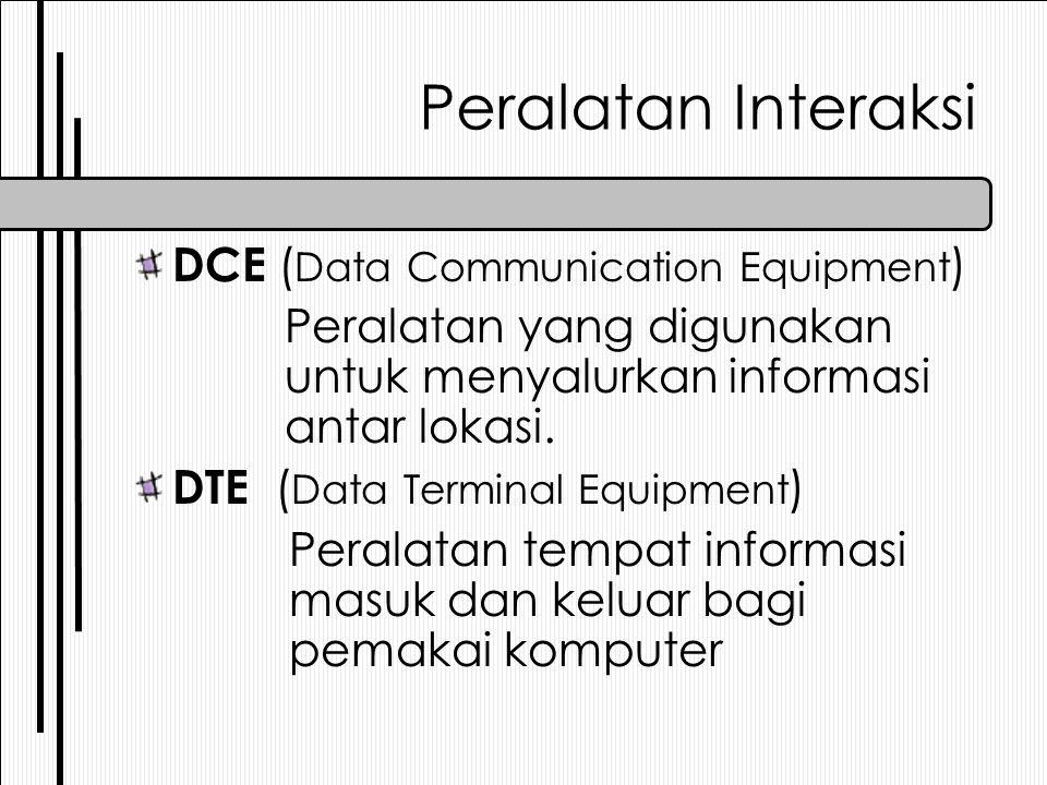Peralatan Interaksi DCE ( Data Communication Equipment ) Peralatan yang digunakan untuk menyalurkan informasi antar lokasi. DTE ( Data Terminal Equipm
