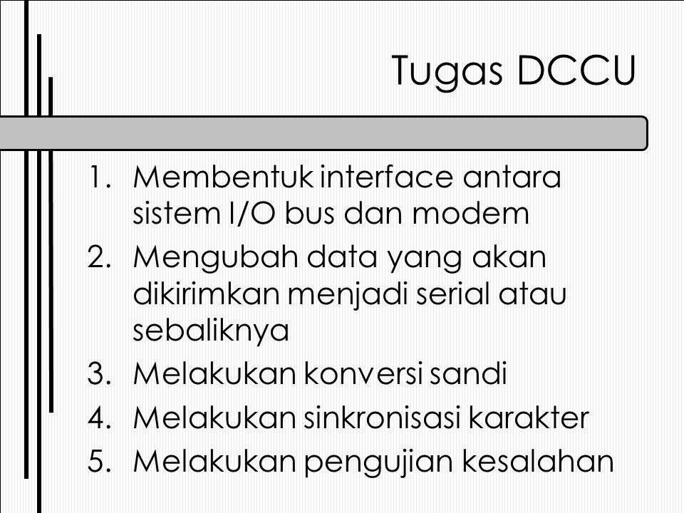 Tugas DCCU 1.Membentuk interface antara sistem I/O bus dan modem 2.Mengubah data yang akan dikirimkan menjadi serial atau sebaliknya 3.Melakukan konversi sandi 4.Melakukan sinkronisasi karakter 5.Melakukan pengujian kesalahan