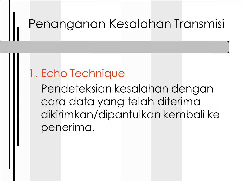 Penanganan Kesalahan Transmisi 3.Double Parity Checking Pendeteksian kesalahan dengan cara memeriksa pariti dari dua arah 2.Single Parity Checking Pendeteksian kesalahan dengan cara memeriksa pariti dari 1 arah