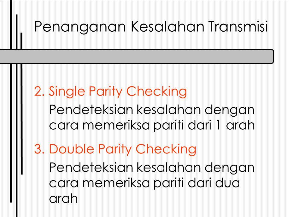 Penanganan Kesalahan Transmisi 3.Double Parity Checking Pendeteksian kesalahan dengan cara memeriksa pariti dari dua arah 2.Single Parity Checking Pen