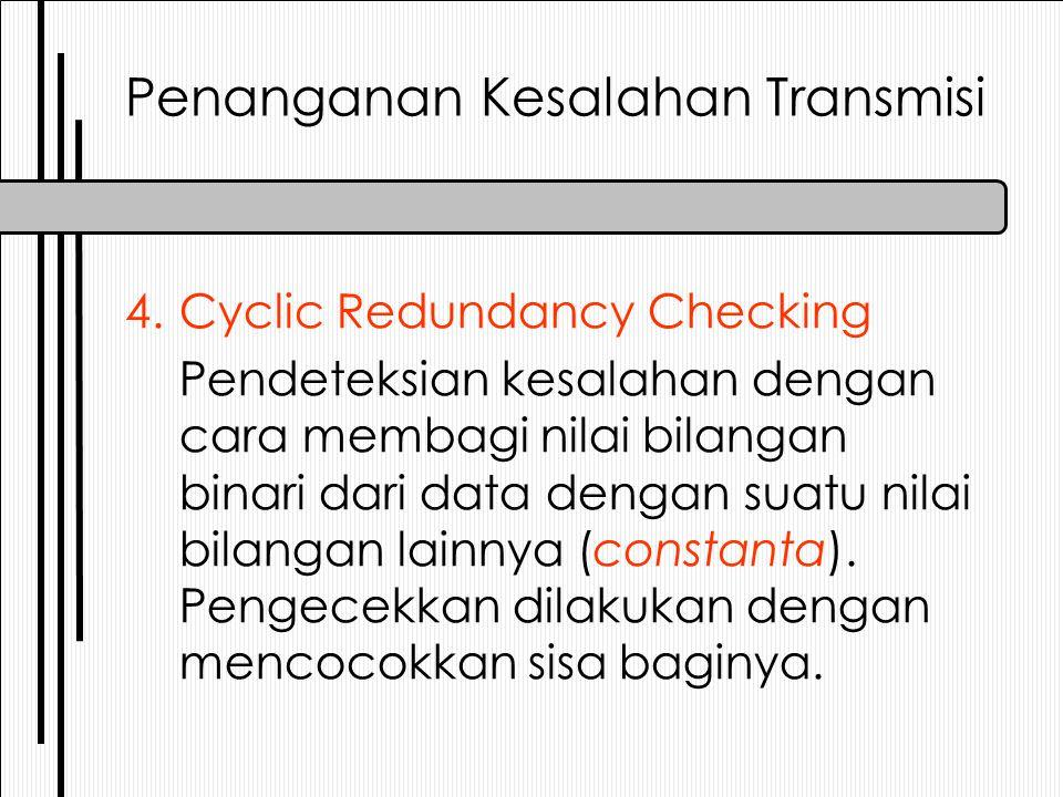 4.Cyclic Redundancy Checking Pendeteksian kesalahan dengan cara membagi nilai bilangan binari dari data dengan suatu nilai bilangan lainnya (constanta).