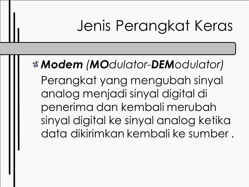 Jenis Perangkat Keras Modem ( MO dulator- DEM odulator) Perangkat yang mengubah sinyal analog menjadi sinyal digital di penerima dan kembali merubah s