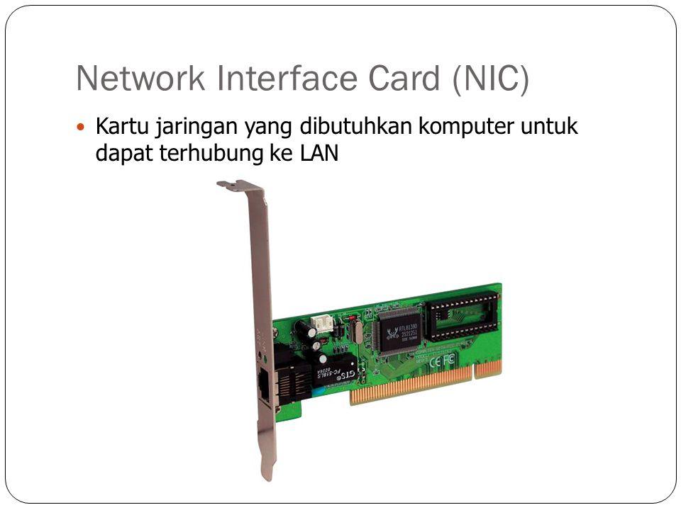 Network Interface Card (NIC) Kartu jaringan yang dibutuhkan komputer untuk dapat terhubung ke LAN