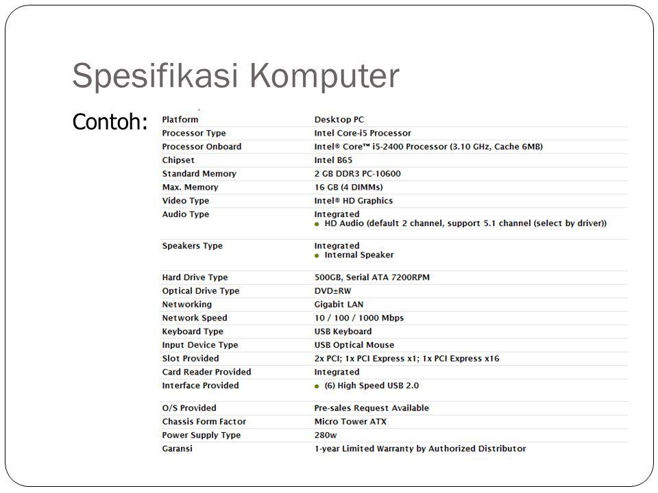 Spesifikasi Komputer Contoh: