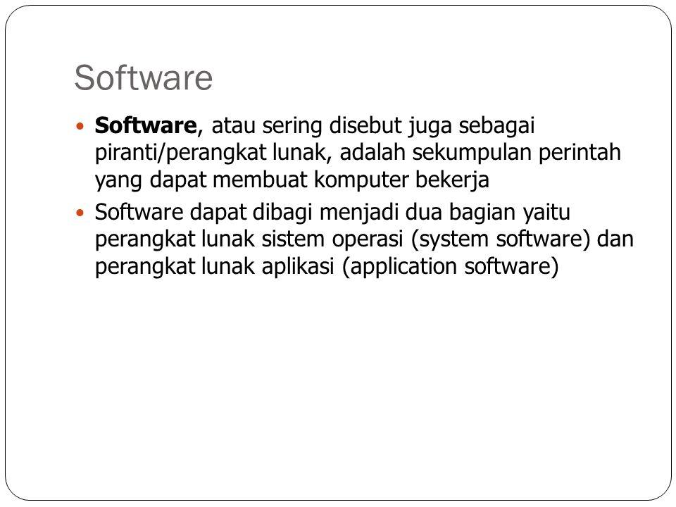 Software Software, atau sering disebut juga sebagai piranti/perangkat lunak, adalah sekumpulan perintah yang dapat membuat komputer bekerja Software dapat dibagi menjadi dua bagian yaitu perangkat lunak sistem operasi (system software) dan perangkat lunak aplikasi (application software)