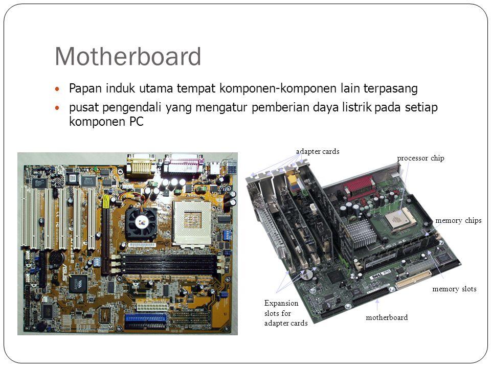 Komponen Motherboard Power Suply Terhubung ke motherboard melalui kabel beraneka warna dan connector plastic besar.