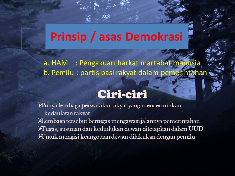 a.HAM : Pengakuan harkat martabat manusia b.