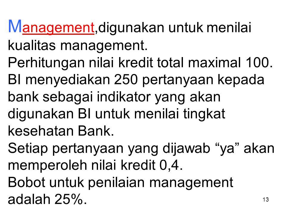 13 M anagement,digunakan untuk menilai kualitas management. Perhitungan nilai kredit total maximal 100. BI menyediakan 250 pertanyaan kepada bank seba