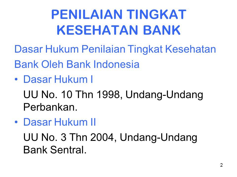 2 PENILAIAN TINGKAT KESEHATAN BANK Dasar Hukum Penilaian Tingkat Kesehatan Bank Oleh Bank Indonesia Dasar Hukum I UU No. 10 Thn 1998, Undang-Undang Pe