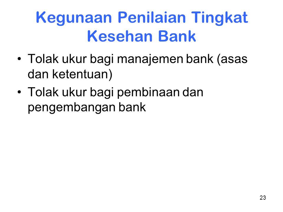 23 Kegunaan Penilaian Tingkat Kesehan Bank Tolak ukur bagi manajemen bank (asas dan ketentuan) Tolak ukur bagi pembinaan dan pengembangan bank