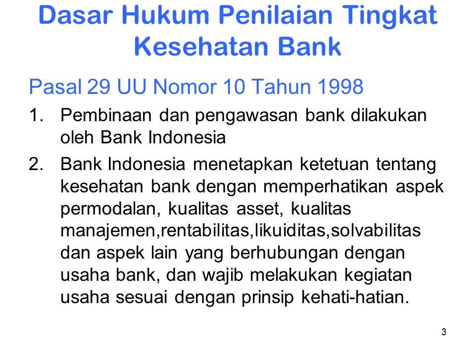 3 Dasar Hukum Penilaian Tingkat Kesehatan Bank Pasal 29 UU Nomor 10 Tahun 1998 1.Pembinaan dan pengawasan bank dilakukan oleh Bank Indonesia 2.Bank In