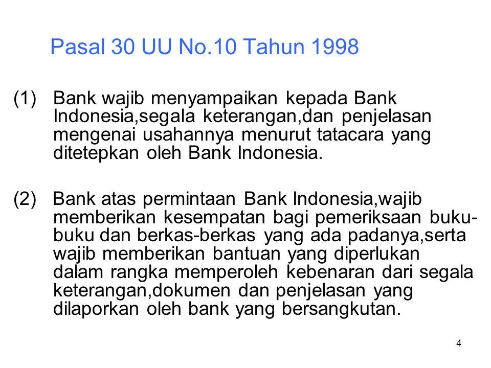 4 Pasal 30 UU No.10 Tahun 1998 (1)Bank wajib menyampaikan kepada Bank Indonesia,segala keterangan,dan penjelasan mengenai usahannya menurut tatacara y