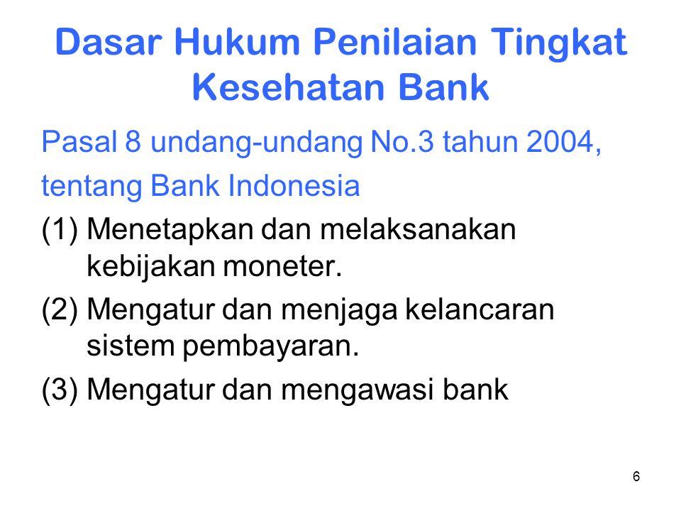 6 Dasar Hukum Penilaian Tingkat Kesehatan Bank Pasal 8 undang-undang No.3 tahun 2004, tentang Bank Indonesia (1) Menetapkan dan melaksanakan kebijakan
