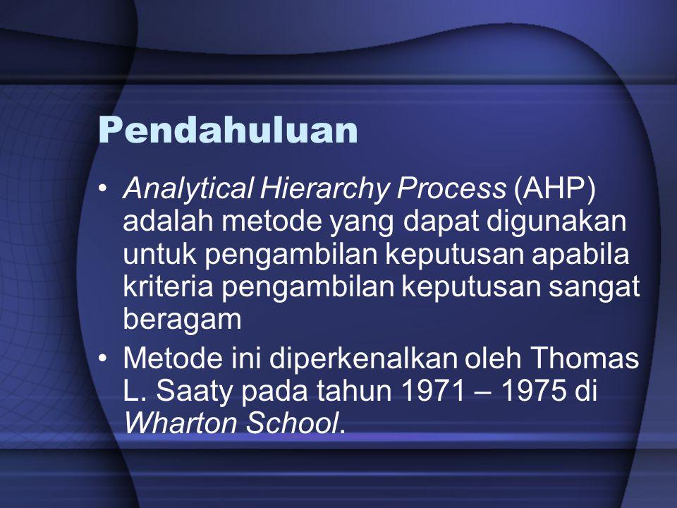 Pendahuluan Analytical Hierarchy Process (AHP) adalah metode yang dapat digunakan untuk pengambilan keputusan apabila kriteria pengambilan keputusan s