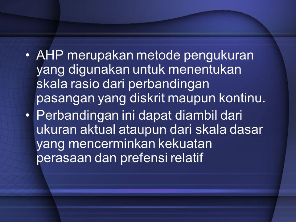 Prinsip dasar dalam menggunakan AHP: Decomposition –Setelah persoalan didefinisikan, maka dilakukan decomposition yaitu memecah persoalan yang utuh menjadi unsur-unsurnya.